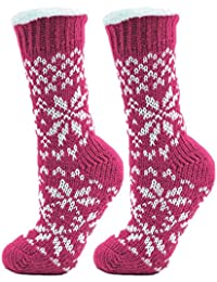 2 Pack Womens/Ladies Fairisle Print Knitted Slipper Socks With Bottom Grip One Size, Pink