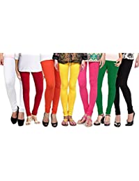 Shmayra Multicolor Soft & Stretchable Churidar Free Size Leggings For Womens Combo Offer - (Pack Of 7) Leggings...
