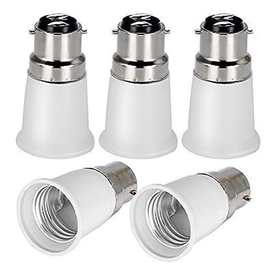 OnvianTech B22 to E27 5-Pack Lamp Holder Converter Base Bulb Socket Adapter LED Light ES Edison Screw Adapter Converter