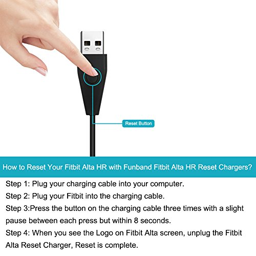 FunBand Fitbit Alta HR Charger With Reset Function, [2-Pack