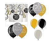 Feste Feiern Geburtstagsdeko Zum 70 Geburtstag I 21 Teile All In One Set Luftballon Deckenhänger Swirl Gold Schwarz Silber Party Deko Happy Birthday