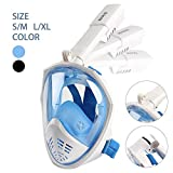 Full Face Snorkel Mask 180°Panoramic View Snorkeling Diving Mask Set with Earplug,Anti-Fog Anti-Leak for Adults & Kids