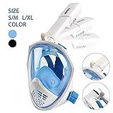 KrisVie Juego de máscara de buceo con vista panorámica de 180 grados, antifugas, para adultos y niños, Blue S/M