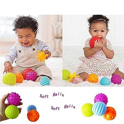 Lalang Enfants Bébé Balles Sensorielles Balles Jouet Colorées, 4 pcs
