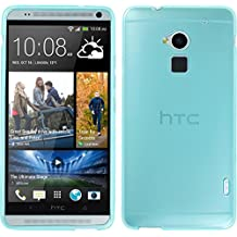 Funda de silicona para HTC One Max - transparente turquesa - Cover PhoneNatic Cubierta + protector de pantalla