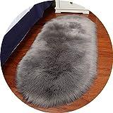 BZLine Faux Lammfell Schaffell Teppich | Super Weiche Moderne Teppiche | Anti-Skid Shaggy Area Teppich | Für Esszimmer Home Schlafzimmer Teppich Bodenmatte | Oval Form | Weiß, Grau | Größe: S, M, L