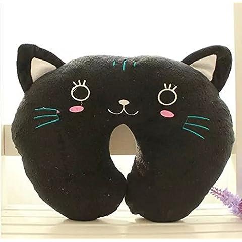 sfeinu 1x gato negro en forma de U Resto Cuello Almohada dibujos animados suave Coche Avión Cojín