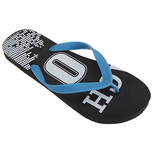FLOSO® Herren Beach 10 Design Flip FLops (43/44.5 EU) (Schwarz)