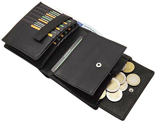 Rindleder Geldbörse / Geldbeutel / Portemonnaie / Portmonaise / Geldtasche / Portmonee mit extra vielen Fächern in Schwarz
