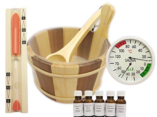EB-Onlinehandel Sauna Set 10 teilig gestreift - Saunaufguss Saunakübel Saunakelle Sanduhr Thermohygrometer Saunazubehör