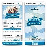 Hochzeit Einladungen (50 Stück) - First Class Flugticket Blau - Hochzeitskarten Foto Abriss