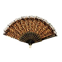 Caprilite Classic Leopard Print Fan Chinese Folding Hand Held Dancing Prom Party Fans Gift