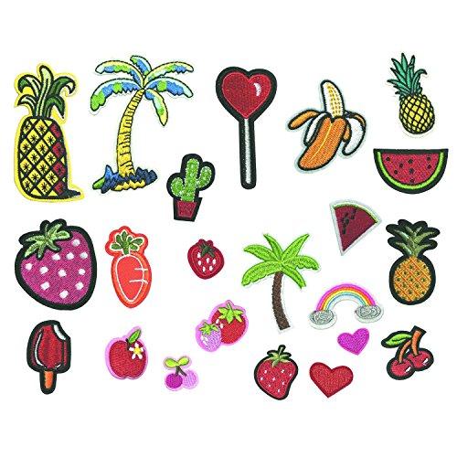 JZF Toppe termoadesive da cucire o applicare con stiratura, in tessuto ricamato, in forme miste di melone, ciliegia, ananas, cactus, gelato, frutta, latte, banana, cocktail, 22 pezzi