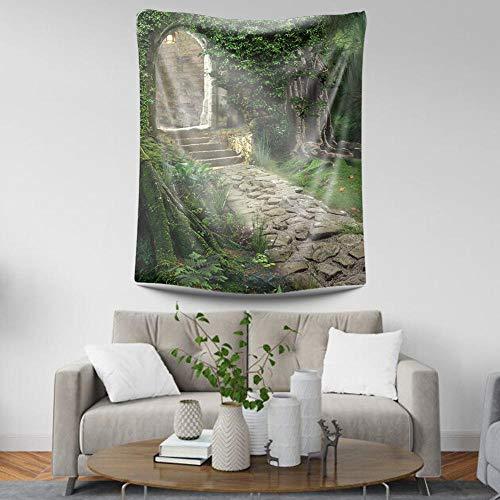 Tapestry Wall Hanging,Böhmische Indischen Hippie Trippy Vintage Vogue Print Fabric,Psychedelische Wald Stein Tor,Groß Home Decor Hängenden Tuch Für Wohnzimmer Schlafzimmer (Decor Home Tor)