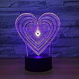 Luce notturna 3D a LED e gocciolamento ottico visivo a 7 colori per la decorazione domestica 2 Nessun controller