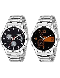 On Time Octus Combo Of 2 Multi Color Dial Analog Metal Strap Watch For Boys And Mens 302-315