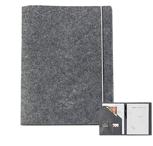 Schreibmappe A4 aus Filz (grau, Farbe wählbar) | Konferenz-Mappe für Block, Dokumente, Blätter, Visitenkarten, Stifthalter