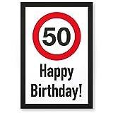 DankeDir! 50 Jahre Happy Birthday Kunststoff Schild - Geschenk 50. Geburtstag, Geschenkidee Geburtstagsgeschenk Fünzigsten, Geburtstagsdeko/Partydeko / Party Zubehör/Geburtstagskarte