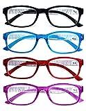 VEVISTARS Lesebrille Damen Herren Lesehilfen Augenoptik Vintage Retro Qualität Rechteckig Vollrandbrille Arbeitsplatzbrille mit Stärke 1.0 1.5 2.0 2.5 3.0 3.5 4.0 (4 Farben Set, 1.5)