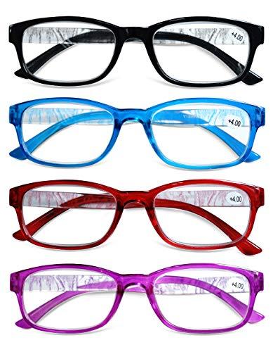 KOOSUFA Lesebrille Damen Herren Lesehilfen Augenoptik Vintage Retro Qualität Rechteckig Vollrandbrille Arbeitsplatzbrille mit Stärke 1.0 1.5 2.0 2.5 3.0 3.5 4.0 (4 Farben Set, 2.0)