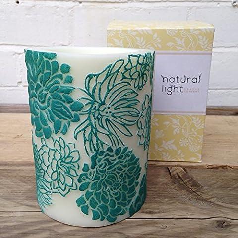 Cera de abejas velas, comercio justo velas, velas, velas de boda decoración del hogar diseño Floral grande Pilar–Aqua