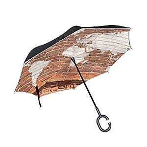 jstel doble capa puede ladrillo de pared antiguo mapa del mundo Graffiti paraguas coches Reverse resistente al viento lluvia paraguas para coche al aire libre con asa en forma de C