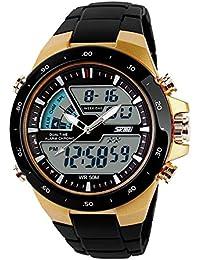 6323d70970ea SKMEI - hombre reloj deportivo digital con LED luz de fondo grande cara  resistente al agua militar relojes casuales…