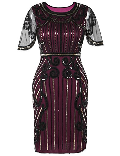 (Kayamiya Damen 1920er Jahre Kleid inspiriert Pailletten Cocktail Flapper Dress XL Burgund)