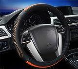 YAYUE Universal Mikrofaser Leder Lenkradbezug Lenkradhülle Leder Lenkradschoner Anti Rutsch Lenkradabdeckung Auto , orange