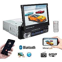 PolarLander Autoradio Bluetooth, Radio Voiture, Radio Mains Libres Stéréo,Lecteur Radio, Lien Miroir pour téléphone Android, écran Tactile LCD de 7 Pouces,FM/MP3/SD/USB Multimédia Player+Télécommande
