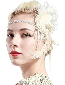 BABEYOND Fascia Cerchietto Anni 20 Flapper Gatsby Accessori Capelli Anni 20 Con Piume Fascia Chaleston Accessori...