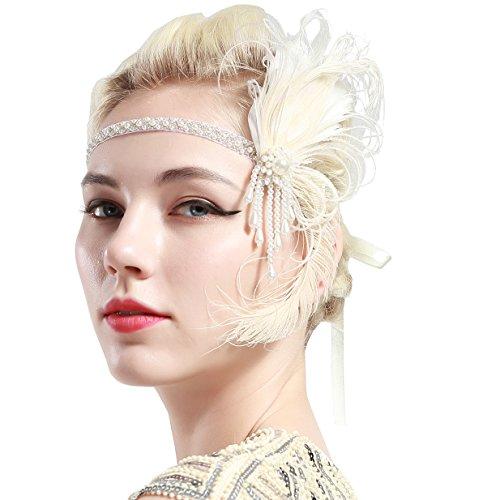 BABEYOND 1920s Flapper Pfau Feder Stirnband Damen Gatsby Accessoires Retro Pfau Feder Stirnband 20er Kopfschmuck Flapper Gatsby Zubehör (Weiß)