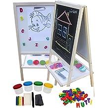 woodega–Pizarra con patas Whiteboard Madera Plegable malgestell vitrina Pizarra Set de accesorios, 95x 46x 37cm, natural