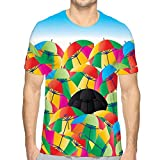 Men's Short Sleeve T-Shirt Umbrella Life Abstract Colorful Black Focus Black Center Graphic Template Sky Color Background