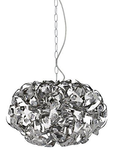 Briloner Leuchten Pendelleuchte 3-flammig, 28 W, Metallspiralen mit Kristallsteinen, chrom 4302-038