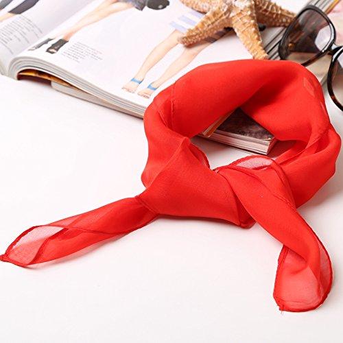 Upper-versatile Couleur unie en soie Petit carré d'été en soie de mûrier Petit en soie de décoration écharpes Écharpe écharpes The corlor of Red