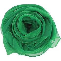 MESHIKAIER Elegante Mujer Seda Bufanda Largo Seda Fular Estola Chal para 4 Estaciones (Verde)