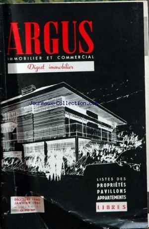 ARGUS IMMOBILIER ET COMMERCIAL (L') [No 83] du 01/12/1960 - liste des appartements et proprietes a vendre libres a paris et sa banlieue par Collectif
