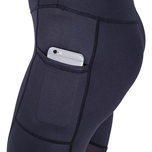 Sunny&Baby Longueur de la cheville pantalons d'athlétisme pantalons de haute taille poche cachée pantalons d'athlétisme yoga en cours d'exécution Gym extensible Skinny pour dames Confortable ( Color : Black