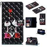 Nadoli Wallet Handyhülle für Huawei Mate 20,Kreative 3D Liebe Katze Muster Taljereep Ständer Flip Ledertasche Brieftasche Schutzhülle Etui für Huawei Mate 20