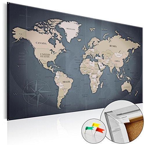 BD XXL murando – Tableau liege avec un vrai châssis bois – 90x60 cm –- Tableau en liege – Carte du monde Poster k-A-0056-p-d