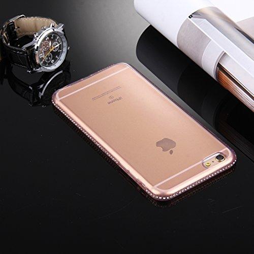 Pour iPhone 6 Plus / 6s Plus, Diamond Encrusted TPU Protective Back Case YAN ( Color : Grey ) Pink