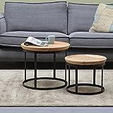 Maison ESTO 2er Set Couchtisch Duncan Metall Mango Satztische Beistelltisch Sofatisch Tische