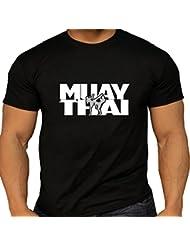 T-Shirt Muay Thai de Combat Fighters T pour homme Coton Noir