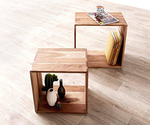 DELIFE Würfelregal Eolo Akazie Natur 50x30 cm Massivholz 2er Set Beistelltisch Cube