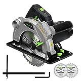 Sierra Circular, GALAX PRO 1500W 5500RPM Sierra Eléctrica Guía Laser, Corte 63mm (90°), 43mm (45°), 2 Hoja 185mm, Escala Graduada,...