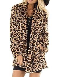 Vectry Mujer Estiloso Abrigo de Peluche sintético de Estampado de Leopardo  para Actividad del Ocio y 0f306ec257bf