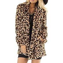 Vectry Mujer Estiloso Abrigo de Peluche sintético de Estampado de Leopardo para Actividad del Ocio y