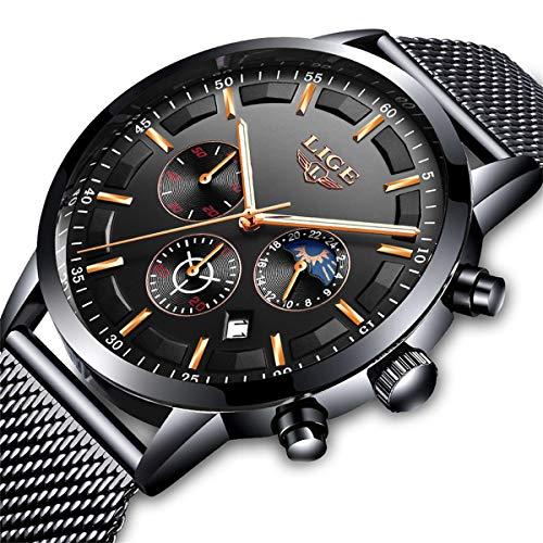 LIGE Uhren Herren Mode Chronographen Analoger Quarz Edelstahl Wasserdich Schwarze Quartz Milanaise Mesh Armband Geschäft Casual Datum Uhr Blau