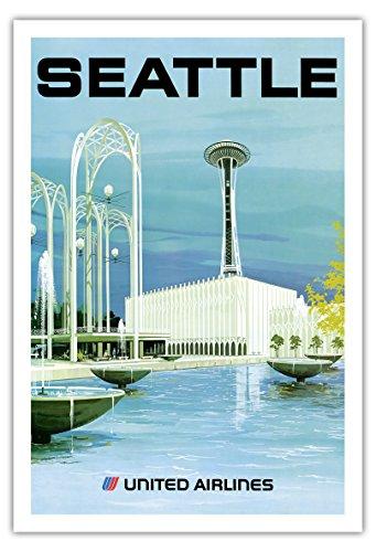 Pacifica Island Art Seattle - Aussichtsturm und Unterhaltungszentrum - United Airlines - Vintage Retro Fluggesellschaft Reise Plakat Poster von Hollenbeck c.1970s - Kunstdruck - 76cm x 112cm - United Airlines Poster